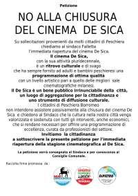NO ALLA CHIUSURA DEL CINEMA DE SICA A PESCHIERA BORROMEO