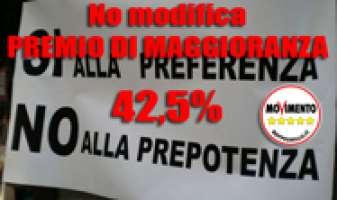 No alla modifica della Legge Elettorale con premio al 42,5%