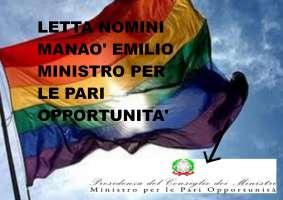 LETTA NOMINI MANAO' EMILIO MINISTRO PER LE PARI OPPORTUNITA'
