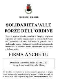 Sostegno a Carabinieri e Forze dell'Ordine