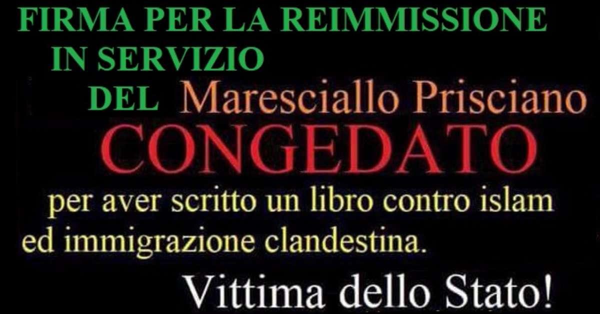 RE-IMMISSIONE IN SERVIZIO DEL MARESCIALLO PRISCIANO