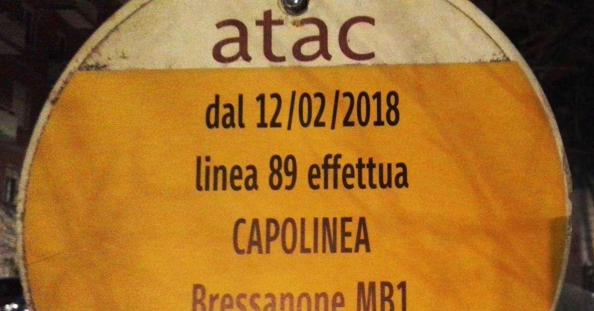 ROMA - MODIFICA CAPOLINEA E PERCORSO LINEA ATAC 89